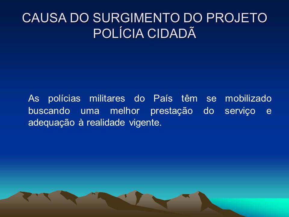 CAUSA DO SURGIMENTO DO PROJETO POLÍCIA CIDADÃ As polícias militares do País têm se mobilizado buscando uma melhor prestação do serviço e adequação à r