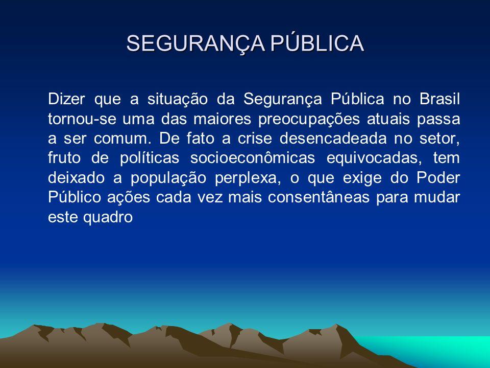 SEGURANÇA PÚBLICA Dizer que a situação da Segurança Pública no Brasil tornou-se uma das maiores preocupações atuais passa a ser comum. De fato a crise