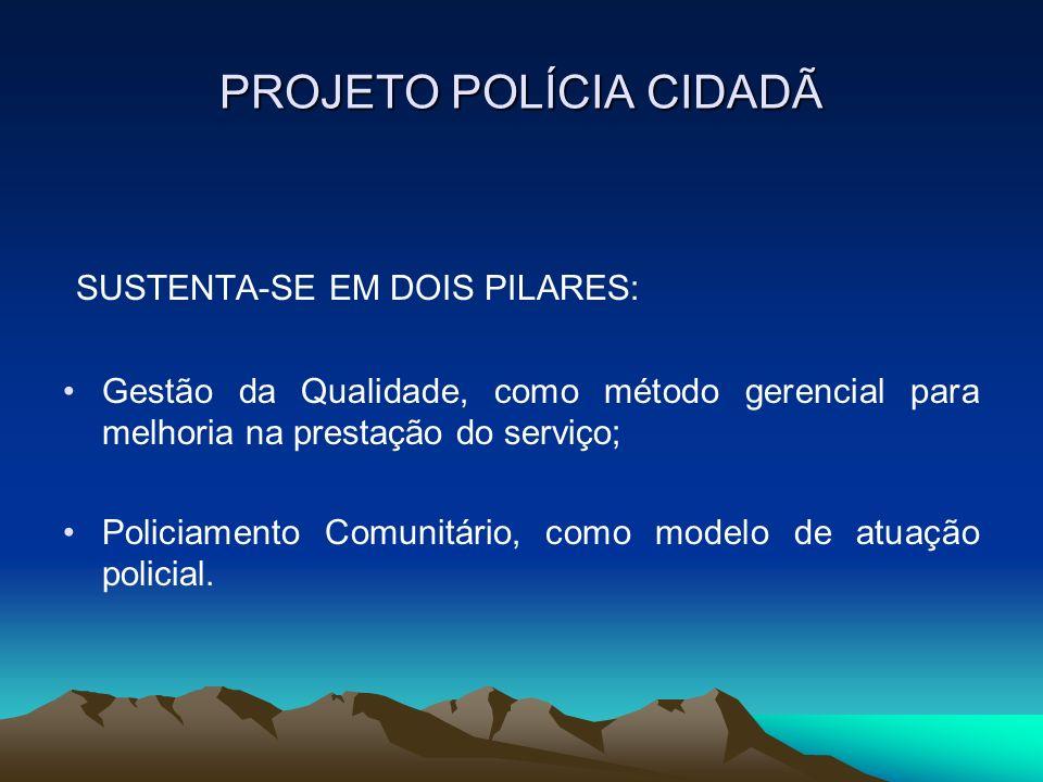 PROJETO POLÍCIA CIDADÃ SUSTENTA-SE EM DOIS PILARES: Gestão da Qualidade, como método gerencial para melhoria na prestação do serviço; Policiamento Com