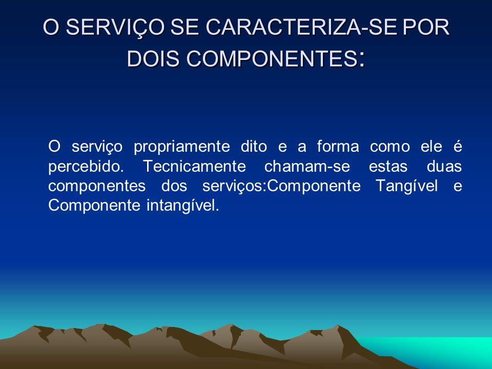 O SERVIÇO SE CARACTERIZA-SE POR DOIS COMPONENTES : O serviço propriamente dito e a forma como ele é percebido. Tecnicamente chamam-se estas duas compo