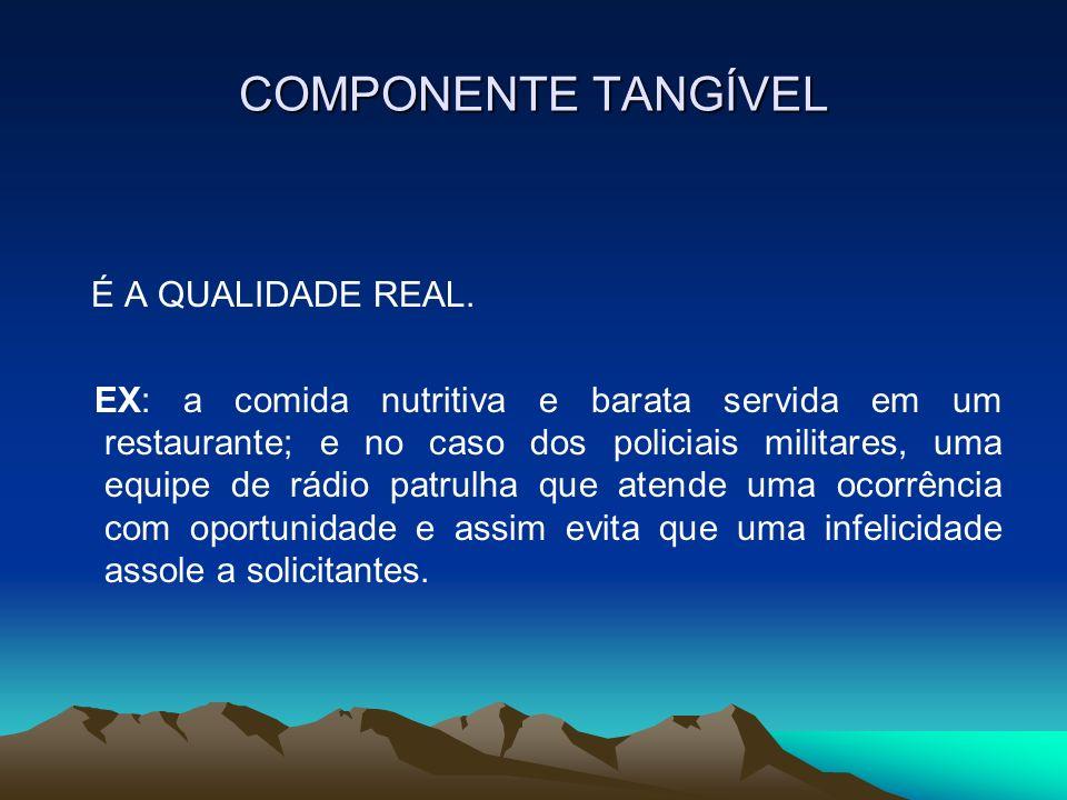 COMPONENTE TANGÍVEL É A QUALIDADE REAL. EX: a comida nutritiva e barata servida em um restaurante; e no caso dos policiais militares, uma equipe de rá