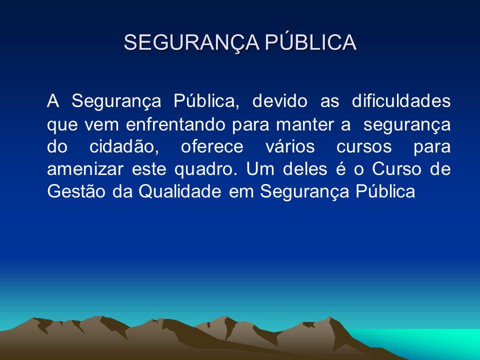 SEGURANÇA PÚBLICA A Segurança Pública, devido as dificuldades que vem enfrentando para manter a segurança do cidadão, oferece vários cursos para ameni