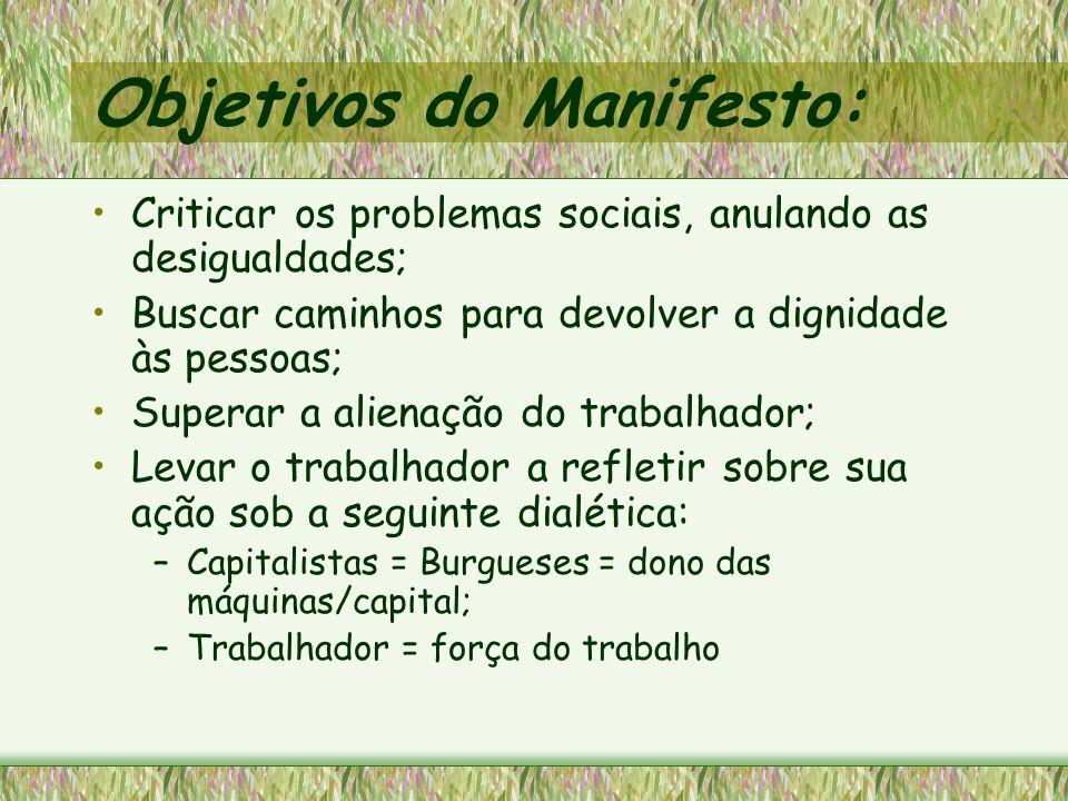 Objetivos do Manifesto: Criticar os problemas sociais, anulando as desigualdades; Buscar caminhos para devolver a dignidade às pessoas; Superar a alie