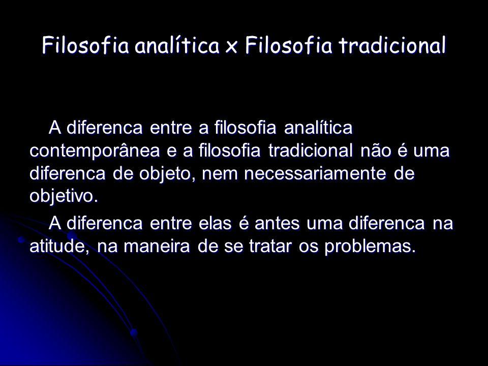 Filosofia analítica x Filosofia tradicional A diferenca entre a filosofia analítica contemporânea e a filosofia tradicional não é uma diferenca de obj