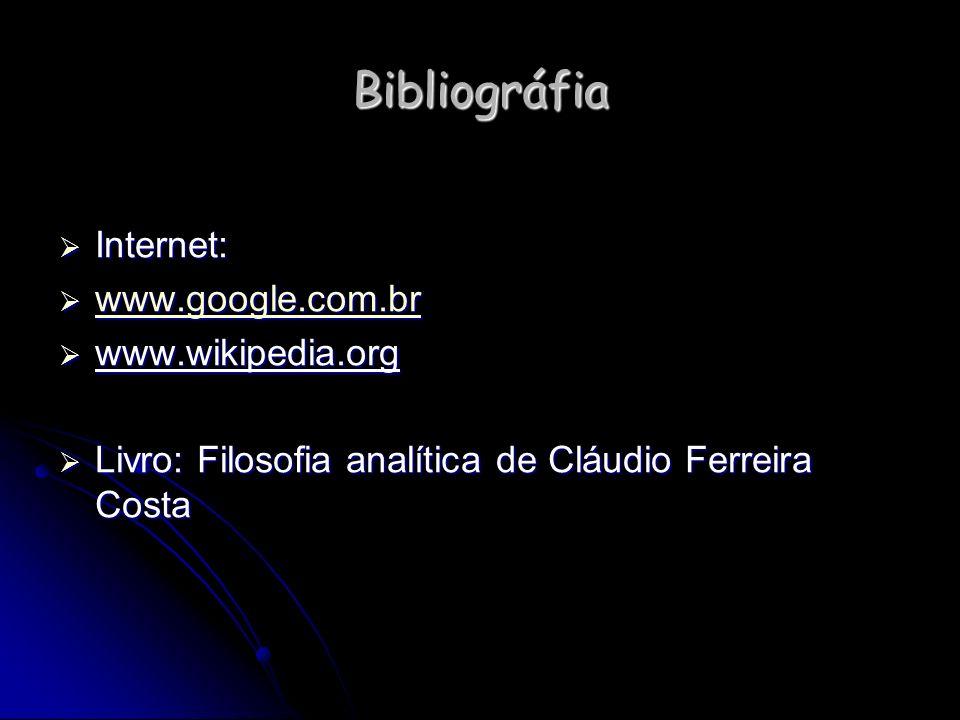 Bibliográfia Internet: Internet: www.google.com.br www.google.com.br www.google.com.br www.wikipedia.org www.wikipedia.org Livro: Filosofia analítica