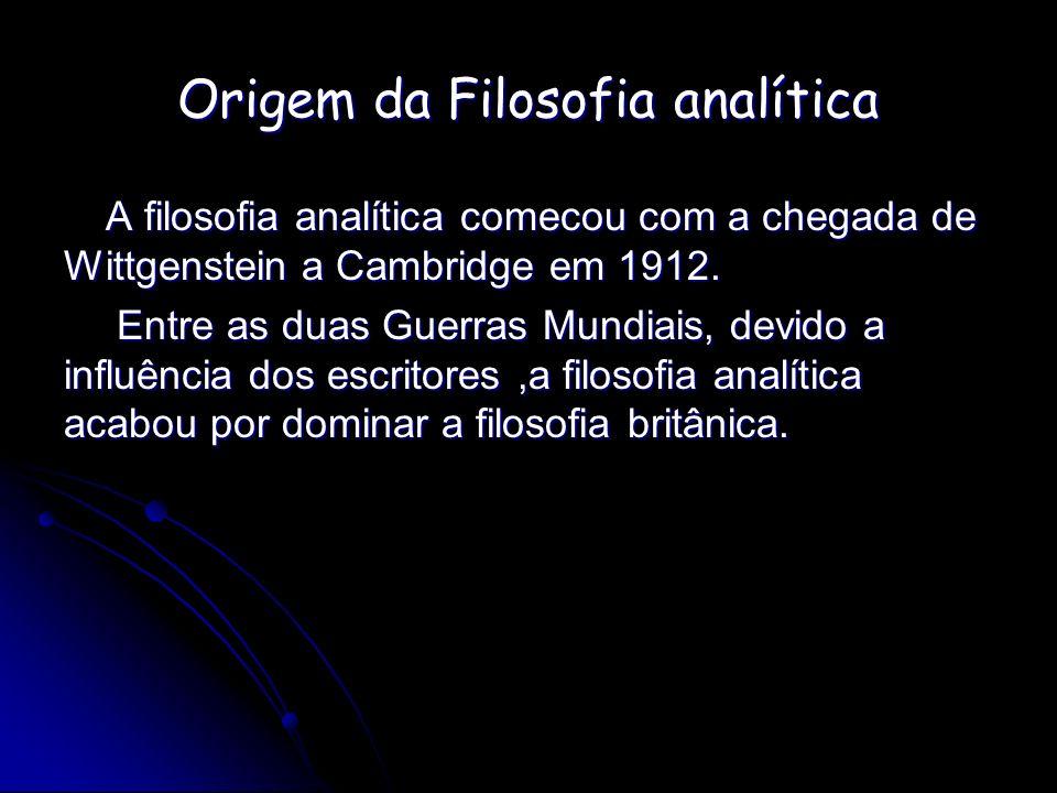 Origem da Filosofia analítica A filosofia analítica comecou com a chegada de Wittgenstein a Cambridge em 1912. Entre as duas Guerras Mundiais, devido