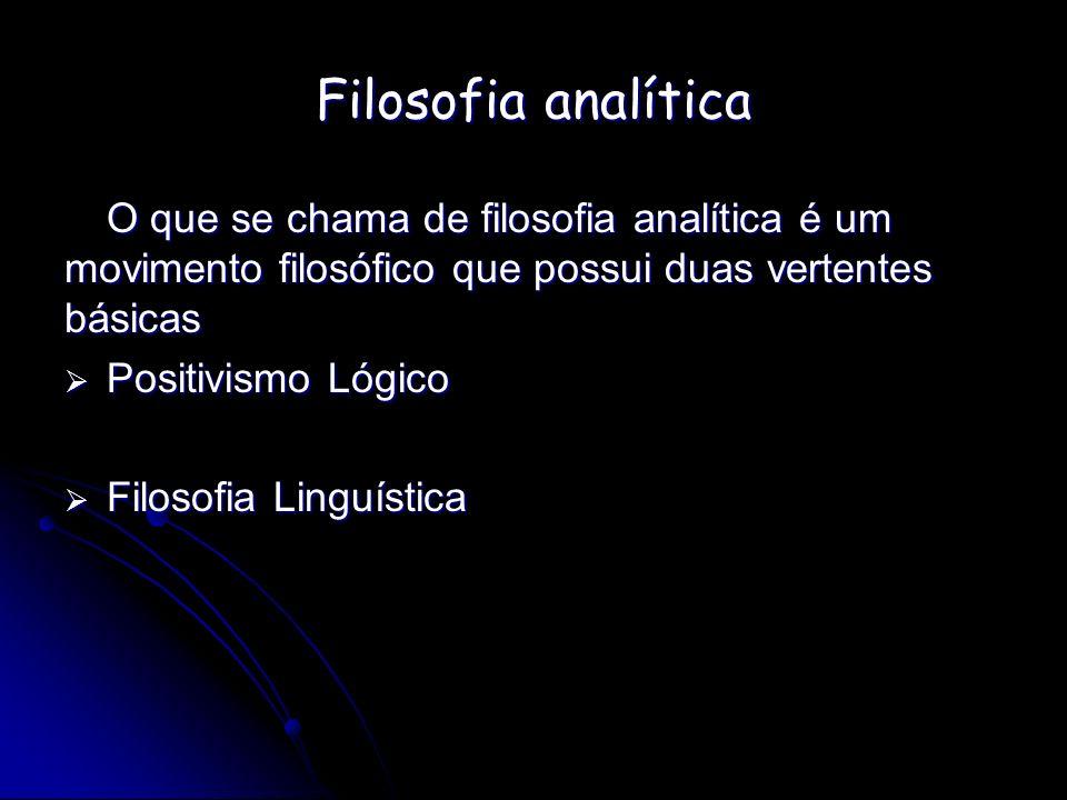 Filosofia analítica O que se chama de filosofia analítica é um movimento filosófico que possui duas vertentes básicas Positivismo Lógico Positivismo L