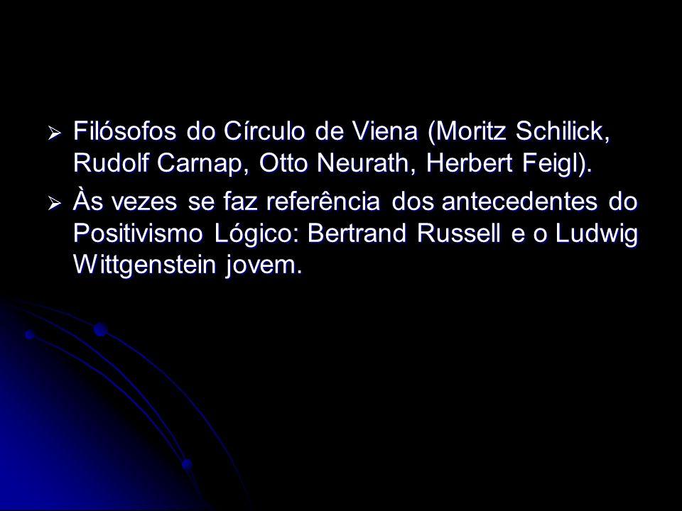 Filósofos do Círculo de Viena (Moritz Schilick, Rudolf Carnap, Otto Neurath, Herbert Feigl). Filósofos do Círculo de Viena (Moritz Schilick, Rudolf Ca