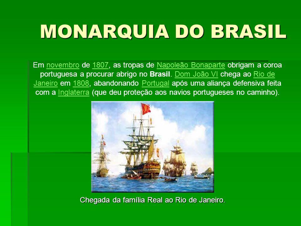 Em novembro de 1807, as tropas de Napoleão Bonaparte obrigam a coroa portuguesa a procurar abrigo no Brasil. Dom João VI chega ao Rio de Janeiro em 18