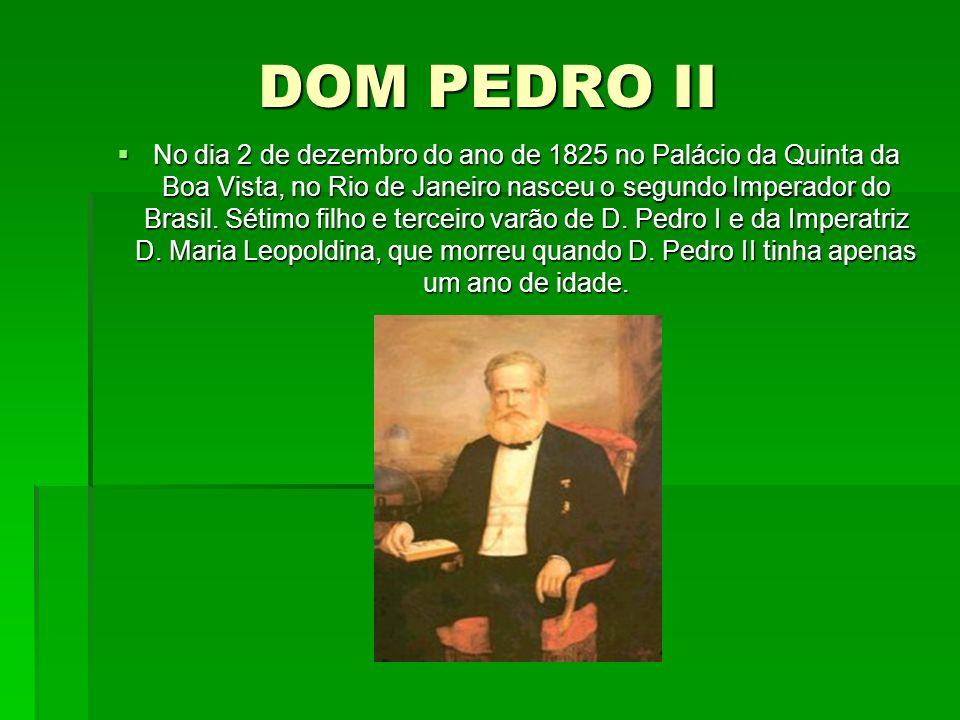DOM PEDRO II No dia 2 de dezembro do ano de 1825 no Palácio da Quinta da Boa Vista, no Rio de Janeiro nasceu o segundo Imperador do Brasil. Sétimo fil