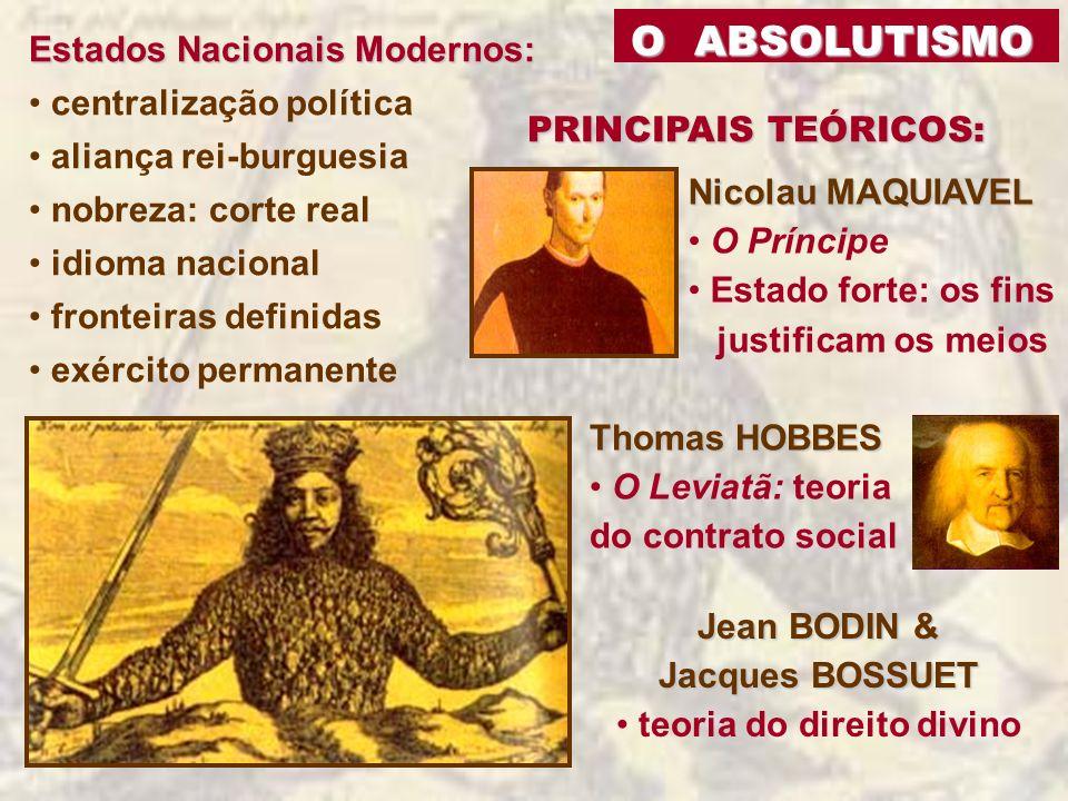 O ABSOLUTISMO O ABSOLUTISMO Estados Nacionais Modernos: centralização política aliança rei-burguesia nobreza: corte real idioma nacional fronteiras de