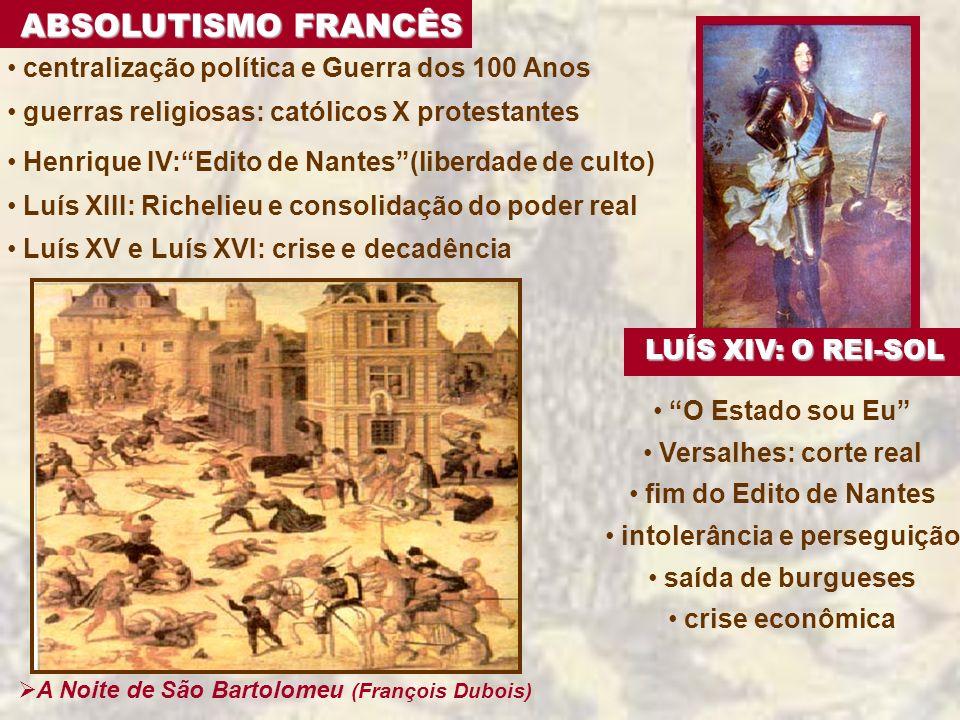 ABSOLUTISMO FRANCÊS centralização política e Guerra dos 100 Anos guerras religiosas: católicos X protestantes Henrique IV:Edito de Nantes(liberdade de