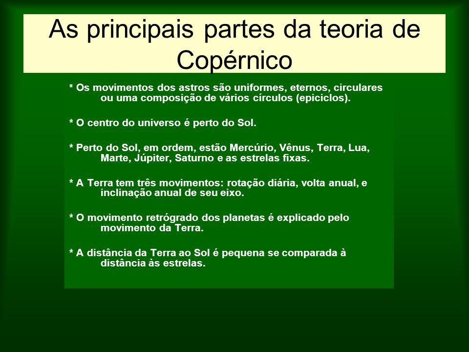 As principais partes da teoria de Copérnico * Os movimentos dos astros são uniformes, eternos, circulares ou uma composição de vários círculos (epicic