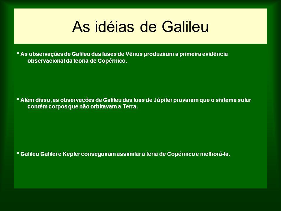 As idéias de Galileu * As observações de Galileu das fases de Vênus produziram a primeira evidência observacional da teoria de Copérnico. * Além disso