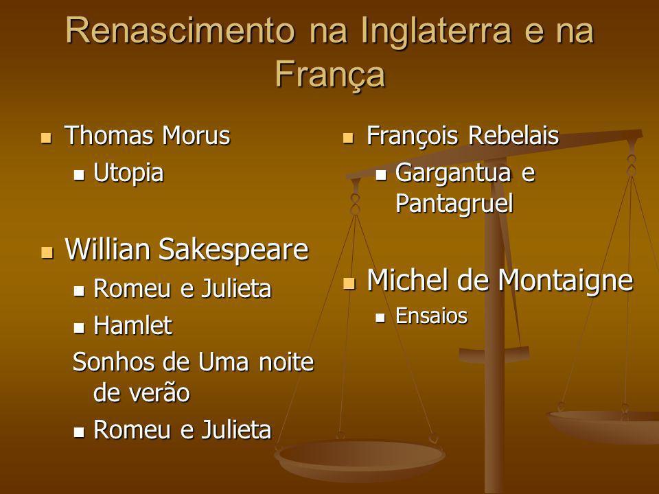 Renascimento na Inglaterra e na França Thomas Morus Thomas Morus Utopia Utopia Willian Sakespeare Willian Sakespeare Romeu e Julieta Romeu e Julieta H