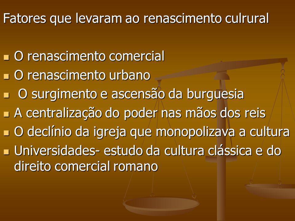 Fatores que levaram ao renascimento culrural O renascimento comercial O renascimento comercial O renascimento urbano O renascimento urbano O surgiment