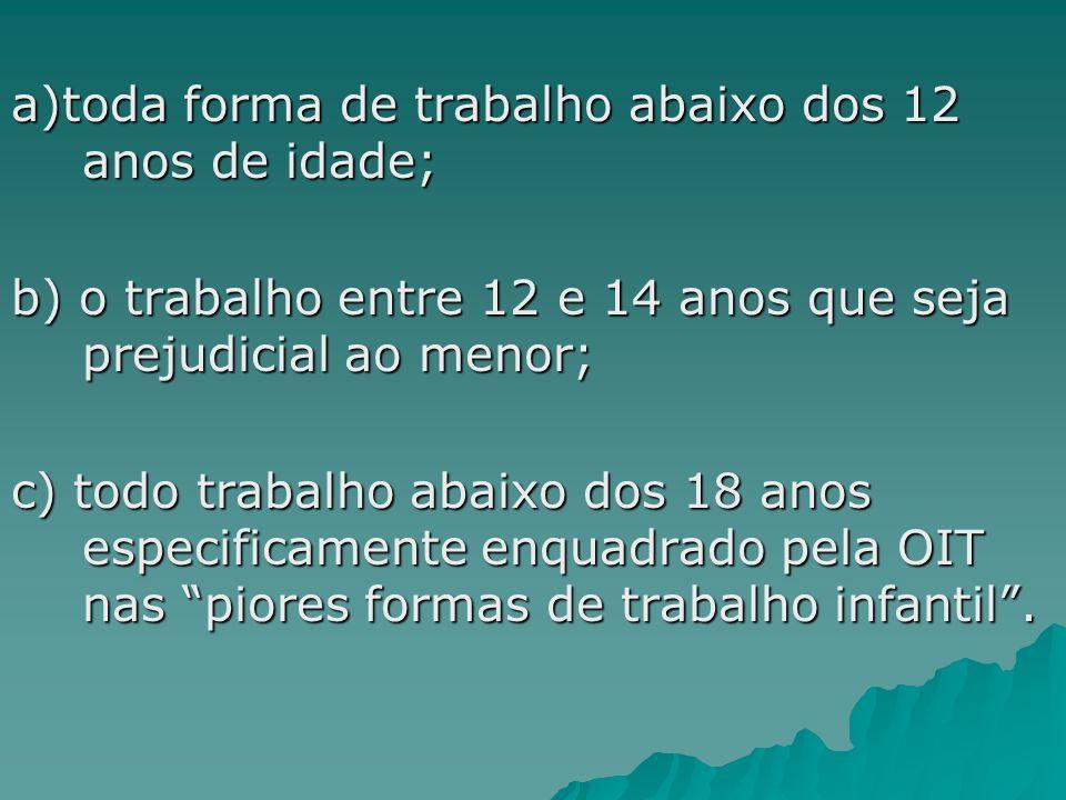 a)toda forma de trabalho abaixo dos 12 anos de idade; b) o trabalho entre 12 e 14 anos que seja prejudicial ao menor; c) todo trabalho abaixo dos 18 a