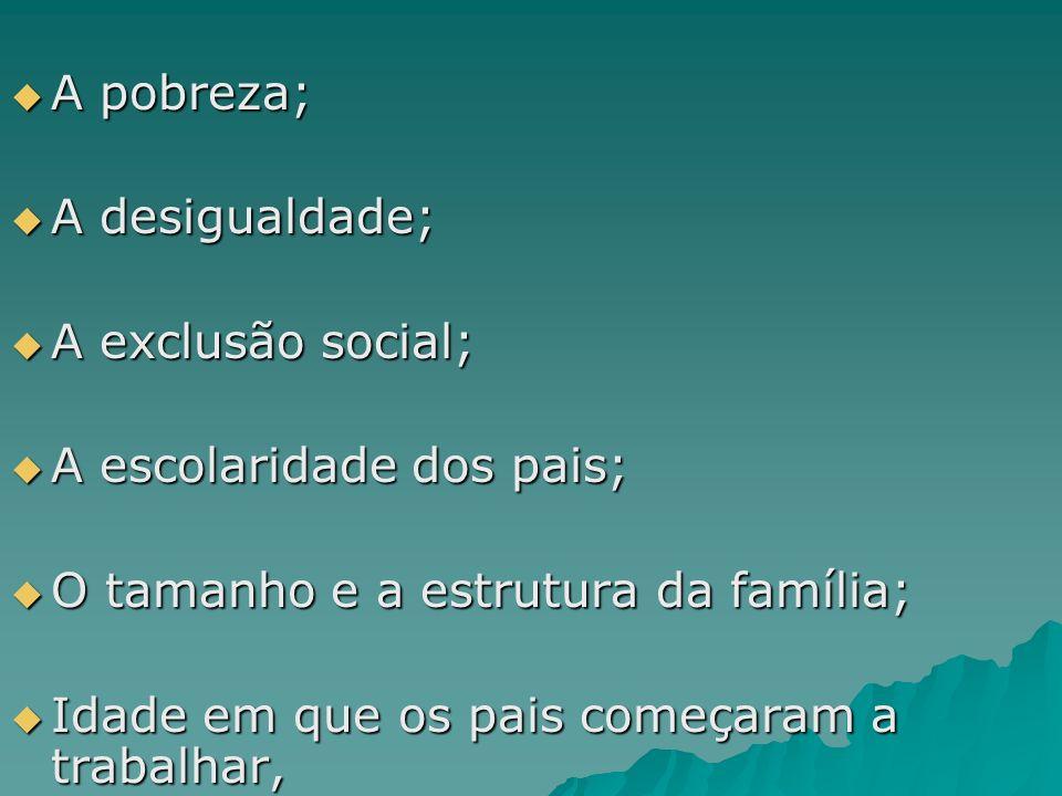 A pobreza; A pobreza; A desigualdade; A desigualdade; A exclusão social; A exclusão social; A escolaridade dos pais; A escolaridade dos pais; O tamanh