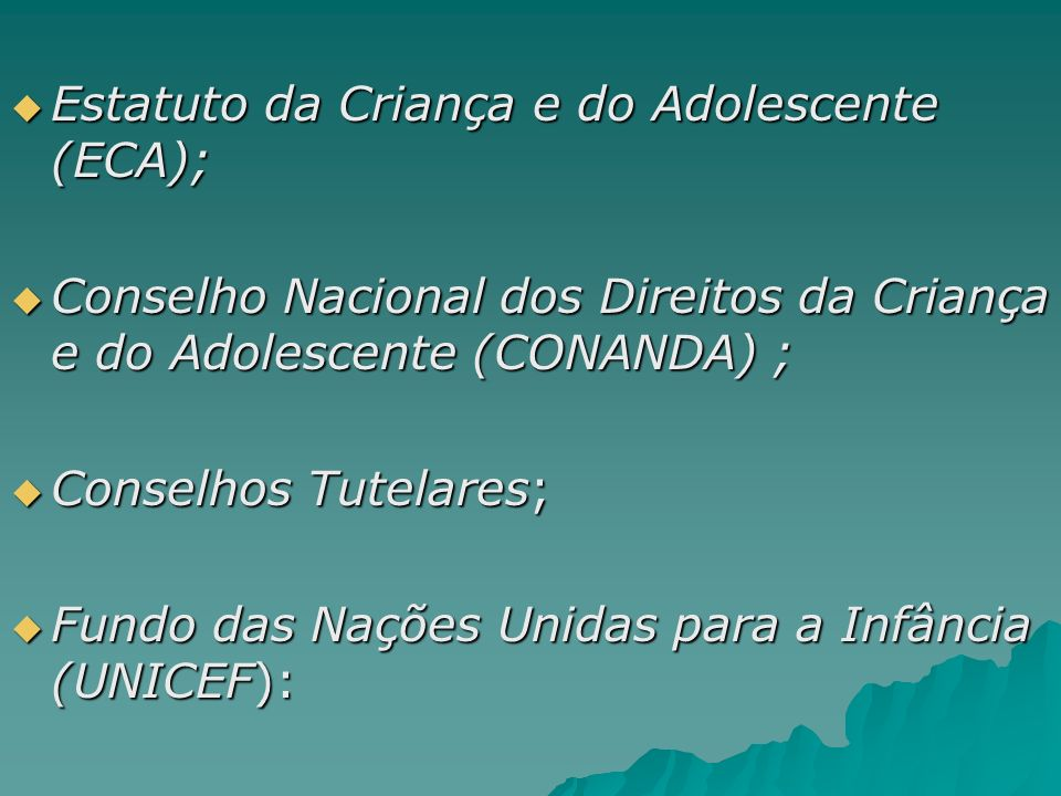 Estatuto da Criança e do Adolescente (ECA); Estatuto da Criança e do Adolescente (ECA); Conselho Nacional dos Direitos da Criança e do Adolescente (CO