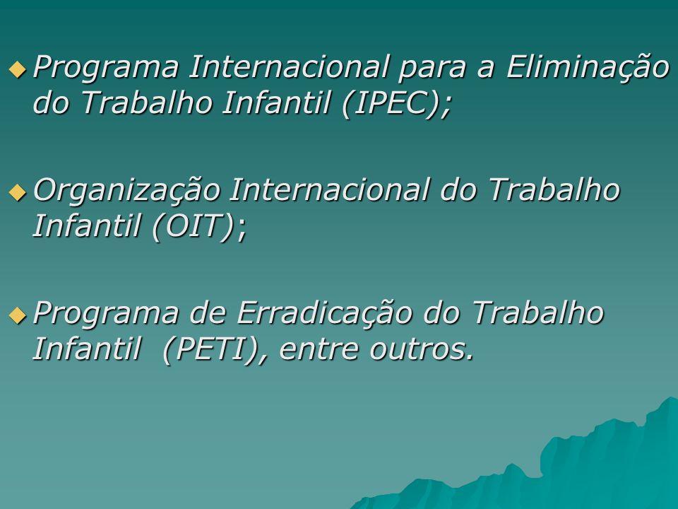 Programa Internacional para a Eliminação do Trabalho Infantil (IPEC); Programa Internacional para a Eliminação do Trabalho Infantil (IPEC); Organizaçã