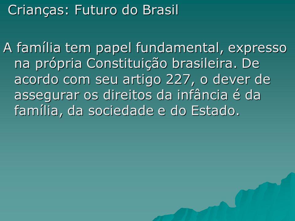 Crianças: Futuro do Brasil Crianças: Futuro do Brasil A família tem papel fundamental, expresso na própria Constituição brasileira. De acordo com seu