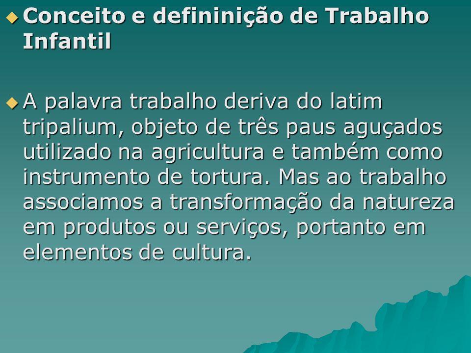 Conceito e defininição de Trabalho Infantil Conceito e defininição de Trabalho Infantil A palavra trabalho deriva do latim tripalium, objeto de três p