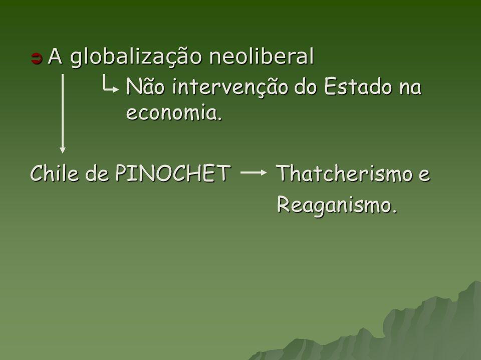 A globalização neoliberal A globalização neoliberal Não intervenção do Estado na economia. Chile de PINOCHET Thatcherismo e Reaganismo. Reaganismo.