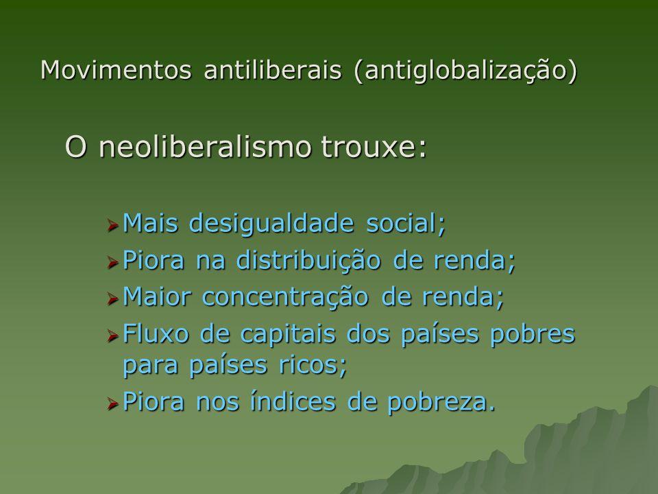 Movimentos antiliberais (antiglobalização) O neoliberalismo trouxe: Mais desigualdade social; Mais desigualdade social; Piora na distribuição de renda