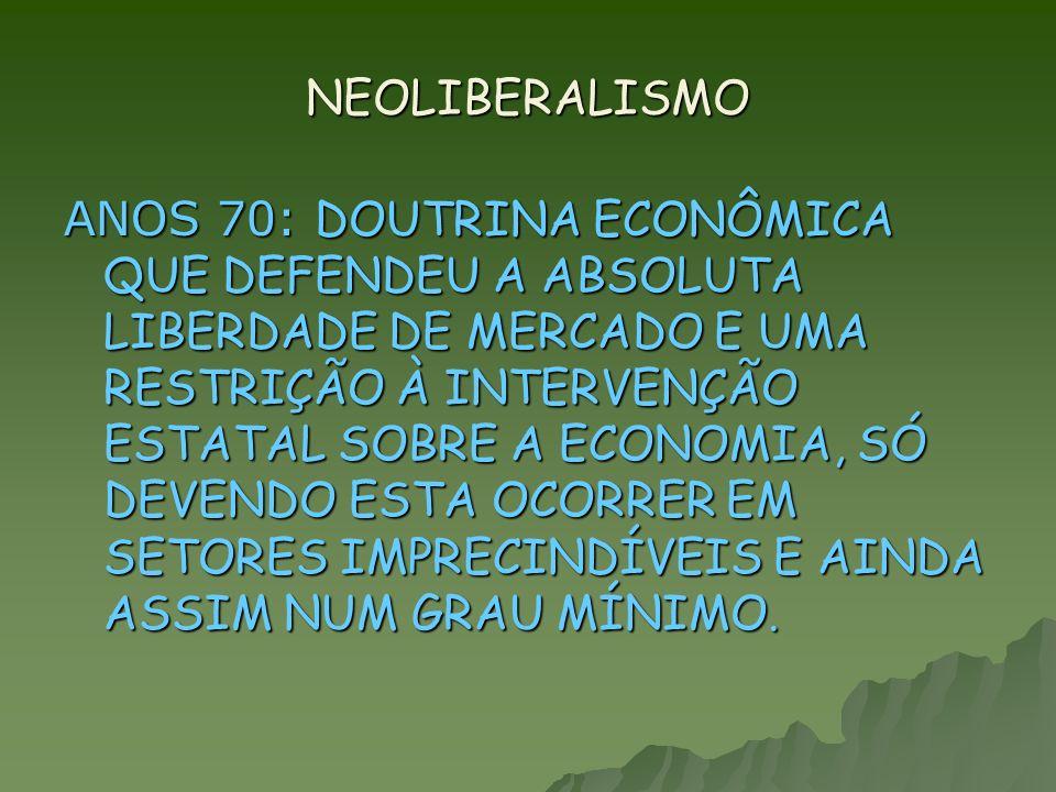 NEOLIBERALISMO NOS REMETE À ESCOLA AUSTRIACA NO FINAL DO SÉCULO XIX.