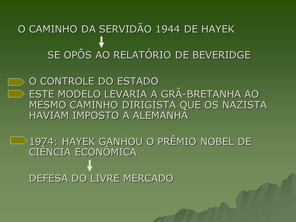 O CAMINHO DA SERVIDÃO 1944 DE HAYEK SE OPÔS AO RELATÓRIO DE BEVERIDGE O CONTROLE DO ESTADO ESTE MODELO LEVARIA A GRÂ-BRETANHA AO MESMO CAMINHO DIRIGISTA QUE OS NAZISTA HAVIAM IMPOSTO A ALEMANHA 1974: HAYEK GANHOU O PRÊMIO NOBEL DE CIÊNCIA ECONÔMICA DEFESA DO LIVRE MERCADO