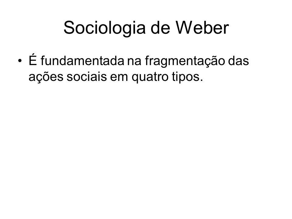 Sociologia de Weber É fundamentada na fragmentação das ações sociais em quatro tipos.
