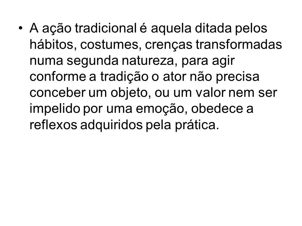 A ação tradicional é aquela ditada pelos hábitos, costumes, crenças transformadas numa segunda natureza, para agir conforme a tradição o ator não prec