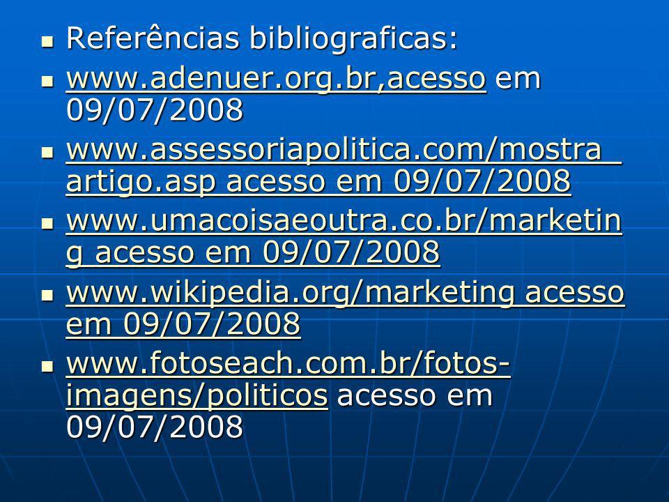 Referências bibliograficas: Referências bibliograficas: www.adenuer.org.br,acesso em 09/07/2008 www.adenuer.org.br,acesso em 09/07/2008 www.adenuer.org.br,acesso www.assessoriapolitica.com/mostra_ artigo.asp acesso em 09/07/2008 www.assessoriapolitica.com/mostra_ artigo.asp acesso em 09/07/2008 www.assessoriapolitica.com/mostra_ artigo.asp acesso em 09/07/2008 www.assessoriapolitica.com/mostra_ artigo.asp acesso em 09/07/2008 www.umacoisaeoutra.co.br/marketin g acesso em 09/07/2008 www.umacoisaeoutra.co.br/marketin g acesso em 09/07/2008 www.umacoisaeoutra.co.br/marketin g acesso em 09/07/2008 www.umacoisaeoutra.co.br/marketin g acesso em 09/07/2008 www.wikipedia.org/marketing acesso em 09/07/2008 www.wikipedia.org/marketing acesso em 09/07/2008 www.wikipedia.org/marketing acesso em 09/07/2008 www.wikipedia.org/marketing acesso em 09/07/2008 www.fotoseach.com.br/fotos- imagens/politicos acesso em 09/07/2008 www.fotoseach.com.br/fotos- imagens/politicos acesso em 09/07/2008 www.fotoseach.com.br/fotos- imagens/politicos www.fotoseach.com.br/fotos- imagens/politicos