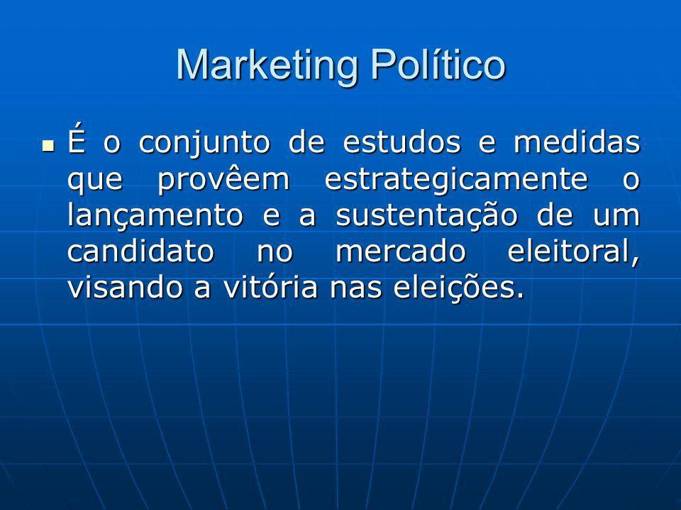 Marketing Político É o conjunto de estudos e medidas que provêem estrategicamente o lançamento e a sustentação de um candidato no mercado eleitoral, visando a vitória nas eleições.