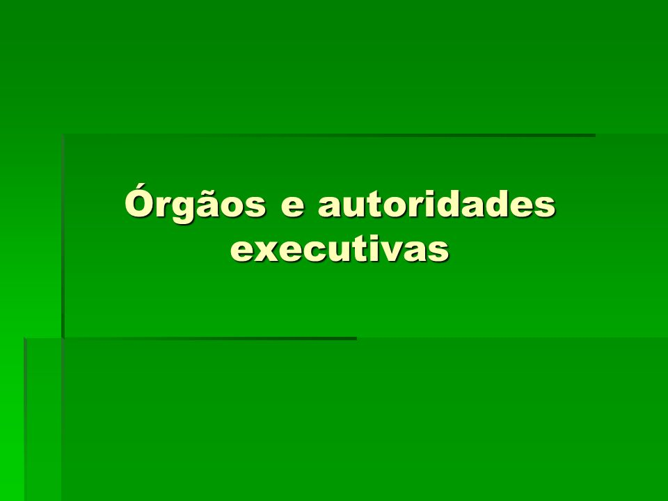 Órgãos e autoridades executivas