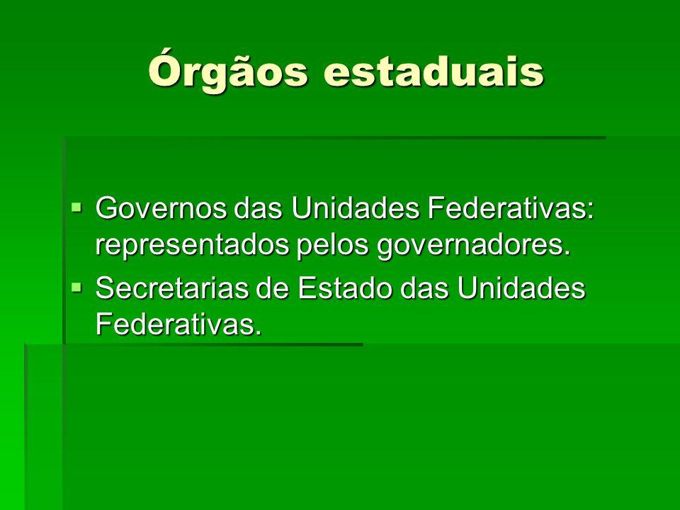 Órgãos estaduais Governos das Unidades Federativas: representados pelos governadores. Governos das Unidades Federativas: representados pelos governado