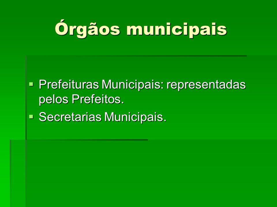 Órgãos municipais Prefeituras Municipais: representadas pelos Prefeitos. Prefeituras Municipais: representadas pelos Prefeitos. Secretarias Municipais