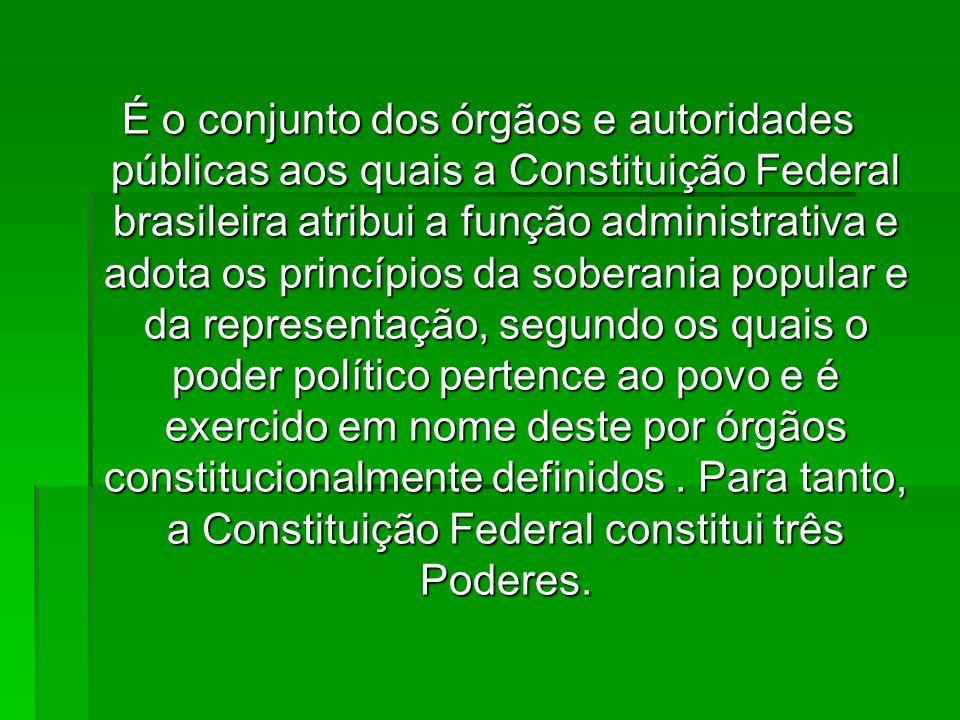 É o conjunto dos órgãos e autoridades públicas aos quais a Constituição Federal brasileira atribui a função administrativa e adota os princípios da so