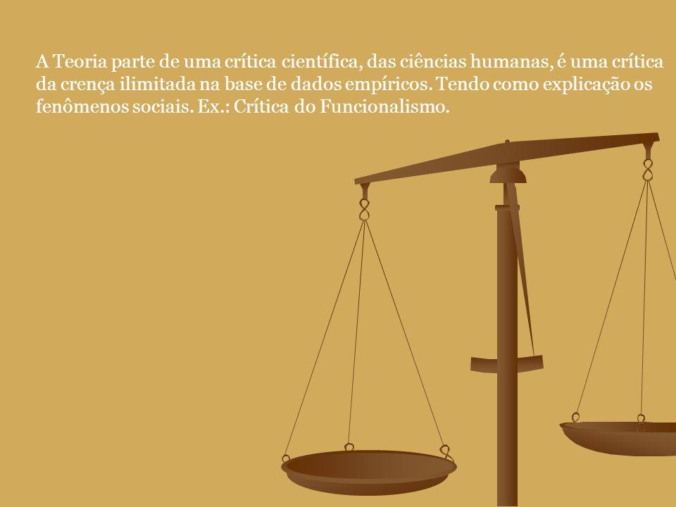 A Teoria parte de uma crítica científica, das ciências humanas, é uma crítica da crença ilimitada na base de dados empíricos.