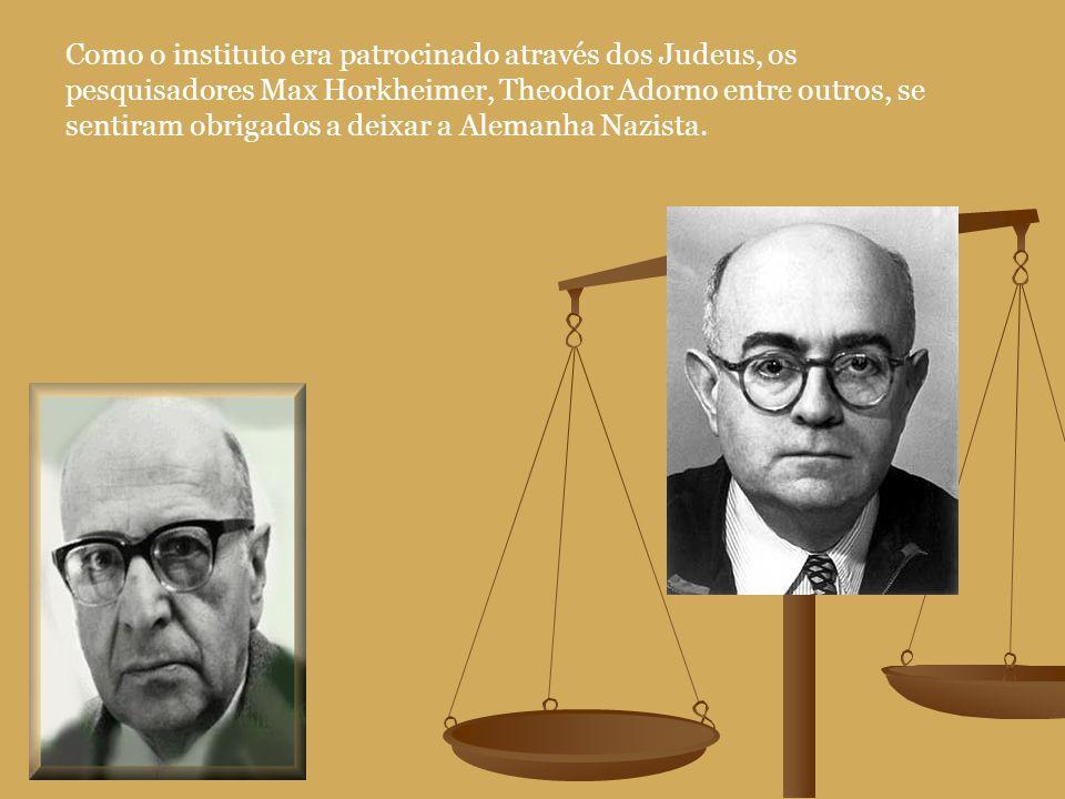 Como o instituto era patrocinado através dos Judeus, os pesquisadores Max Horkheimer, Theodor Adorno entre outros, se sentiram obrigados a deixar a Alemanha Nazista.