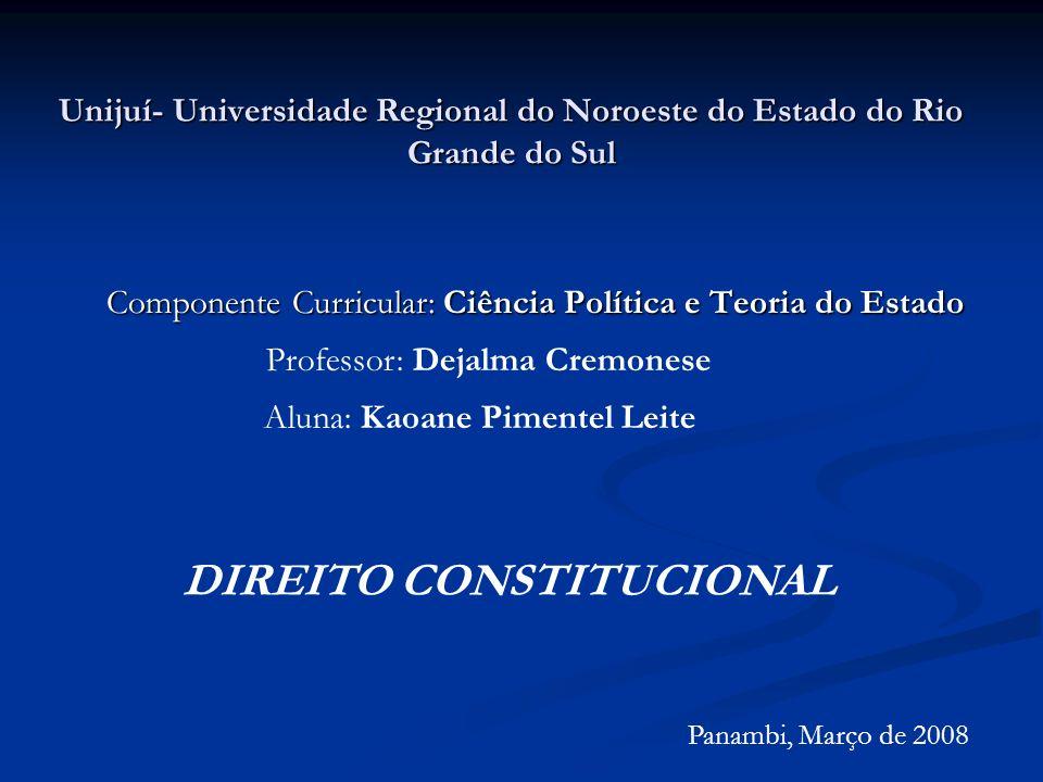 Unijuí- Universidade Regional do Noroeste do Estado do Rio Grande do Sul Componente Curricular: Ciência Política e Teoria do Estado Professor: Dejalma