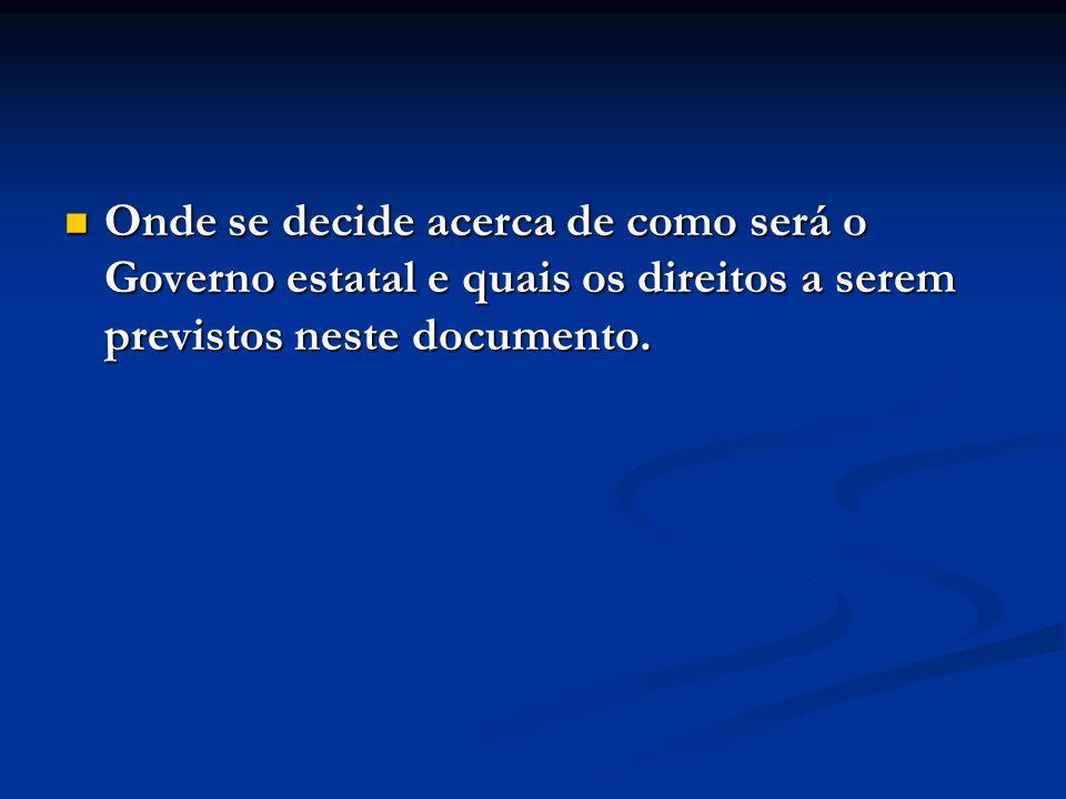 Onde se decide acerca de como será o Governo estatal e quais os direitos a serem previstos neste documento. Onde se decide acerca de como será o Gover