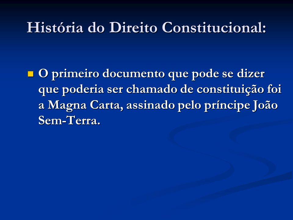 História do Direito Constitucional: O primeiro documento que pode se dizer que poderia ser chamado de constituição foi a Magna Carta, assinado pelo pr