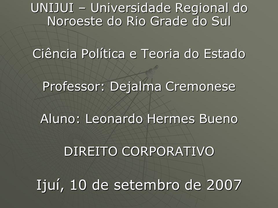 UNIJUI – Universidade Regional do Noroeste do Rio Grade do Sul Ciência Política e Teoria do Estado Professor: Dejalma Cremonese Aluno: Leonardo Hermes Bueno DIREITO CORPORATIVO Ijuí, 10 de setembro de 2007
