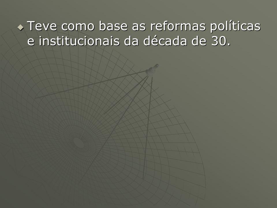 Teve como base as reformas políticas e institucionais da década de 30.