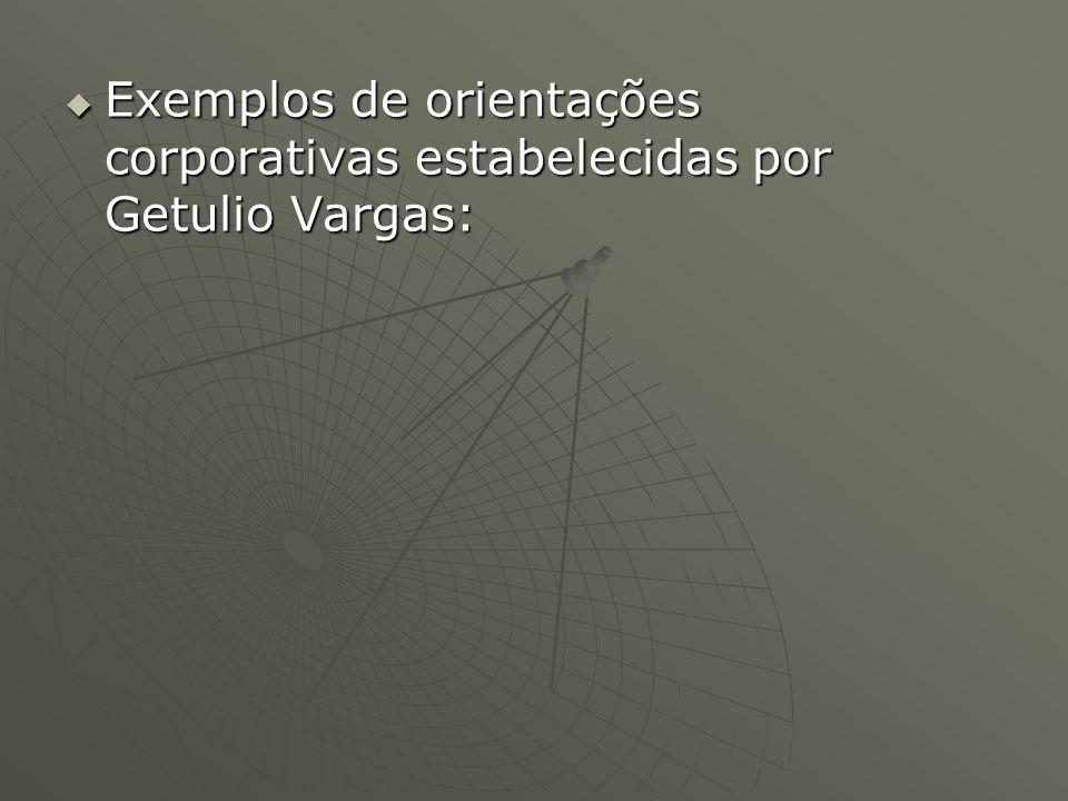 Exemplos de orientações corporativas estabelecidas por Getulio Vargas: Exemplos de orientações corporativas estabelecidas por Getulio Vargas: