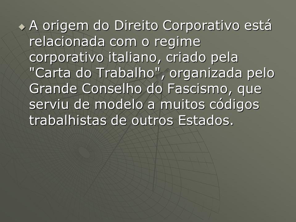 A origem do Direito Corporativo está relacionada com o regime corporativo italiano, criado pela