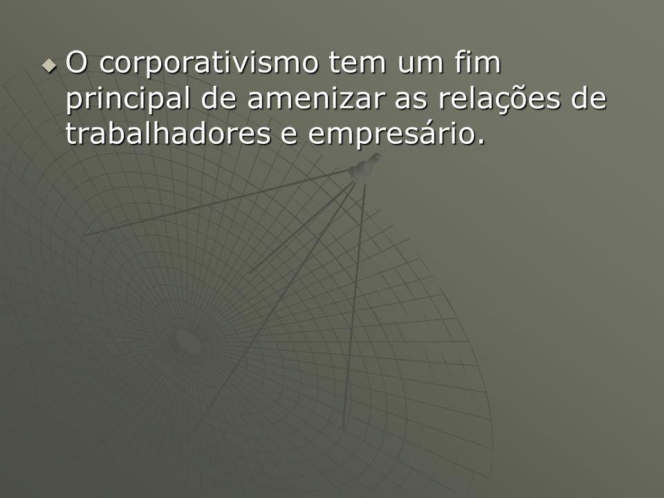 O corporativismo tem um fim principal de amenizar as relações de trabalhadores e empresário. O corporativismo tem um fim principal de amenizar as rela