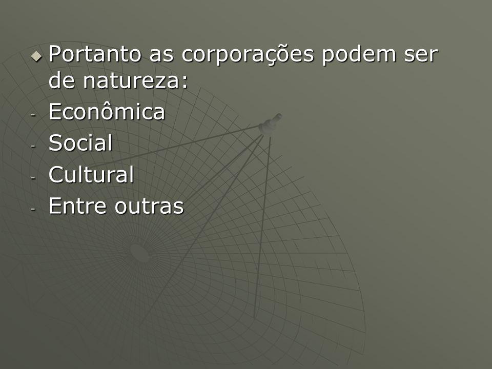 Portanto as corporações podem ser de natureza: Portanto as corporações podem ser de natureza: - Econômica - Social - Cultural - Entre outras