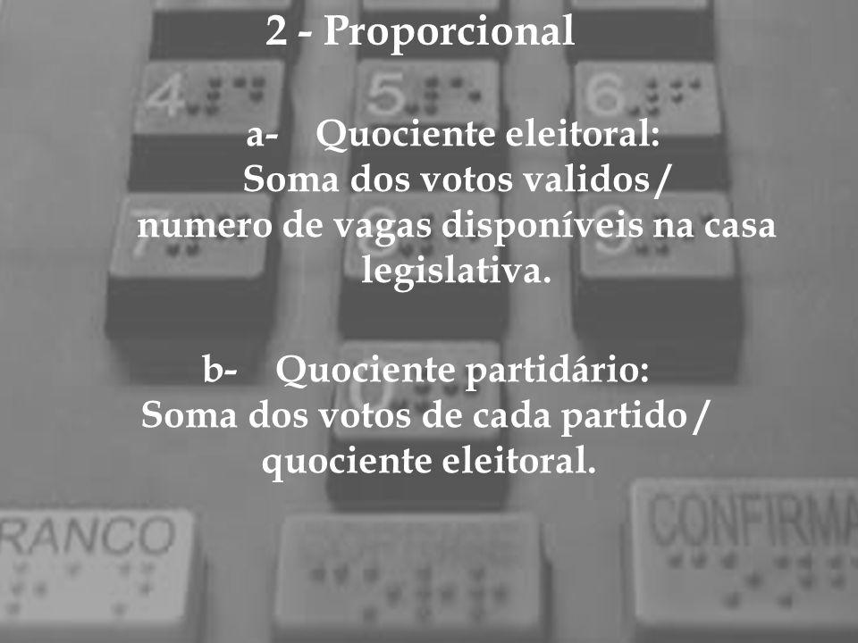 2 - Proporcional a- Quociente eleitoral: Soma dos votos validos / numero de vagas disponíveis na casa legislativa. b- Quociente partidário: Soma dos v
